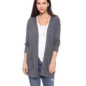 Splendid Grey Long Waffle Knit Thermal Cardigan